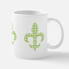 Green Gingham Fleur de lis Mug