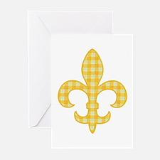 Yellow Gingham Fleur de lis Greeting Cards (Packag