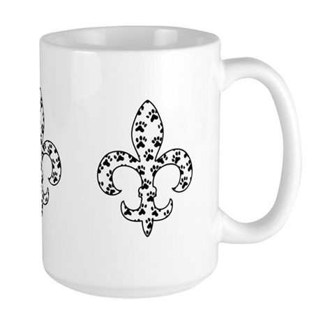Fleur de lis Paws Large Mug