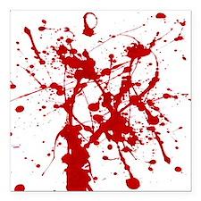 """Red Splatter Square Car Magnet 3"""" x 3"""""""