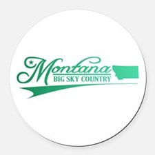Montana State of Mine Round Car Magnet