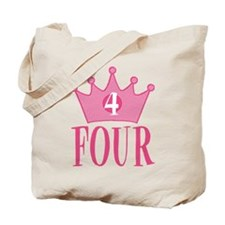 Four - 4th Birthday - Princess Birthday Party Tote