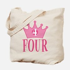 Four - 4th Birthday - Princess Birthday Party Tote