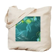 Floral Green Swirls Design Tote Bag