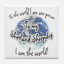 Sheltie World2 Tile Coaster