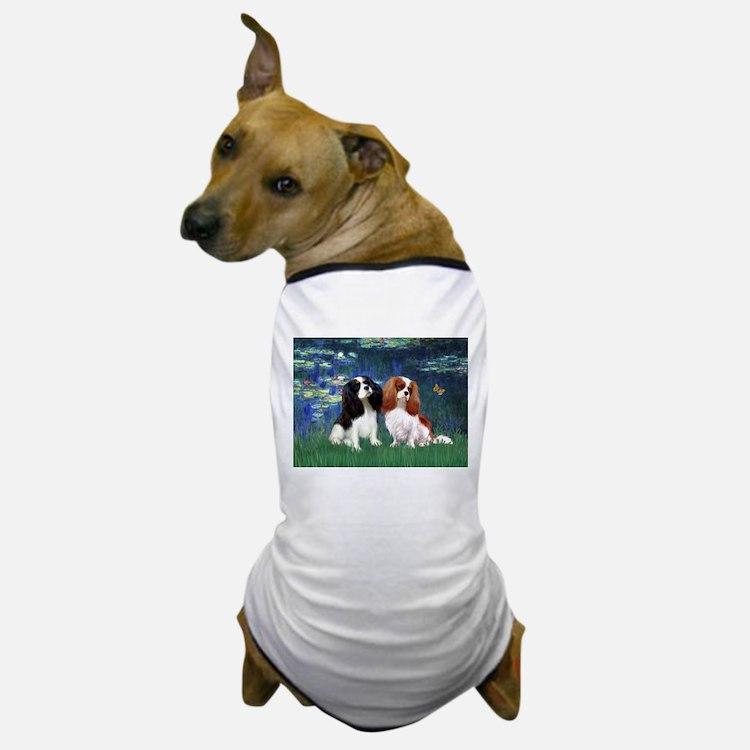 Lilies (5) & Cavalier Pair Dog T-Shirt