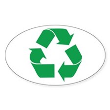 Green Recycle Oval Decal