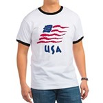 USA Flag Ringer T