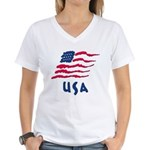 USA Flag Women's V-Neck T-Shirt