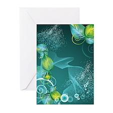 Floral Green Swirls Desi Greeting Cards (Pk of 20)
