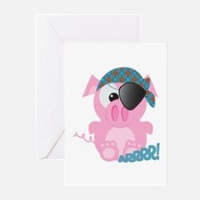 Cute Goofkins Piggy Pig Pirate Greeting Cards (Pac