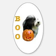 Bearded Collie Boo Oval Decal