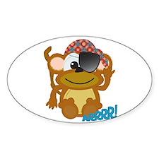 Cute Goofkins Monkey Pirate Oval Decal