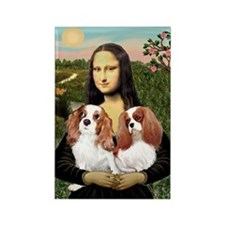 Mona's 2 Cavaliers Rectangle Magnet