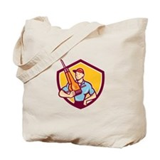 Construction Worker Jackhammer Shield Cartoon Tote