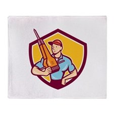 Construction Worker Jackhammer Shield Cartoon Thro