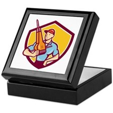 Construction Worker Jackhammer Shield Cartoon Keep