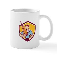Construction Worker Jackhammer Shield Cartoon Mugs