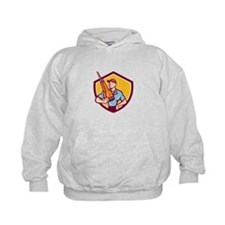 Construction Worker Jackhammer Shield Cartoon Hood