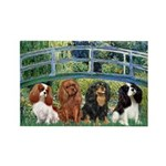 Bridge & 4 Cavaliers Rectangle Magnet (10 pack)