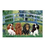 Bridge & 4 Cavaliers Postcards (Package of 8)