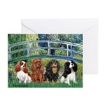 Bridge & 4 Cavaliers Greeting Cards (Pk of 10)