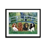 Bridge & 4 Cavaliers Framed Panel Print