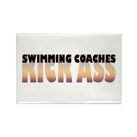 Swimming Coaches Kick Ass Rectangle Magnet (100 pa