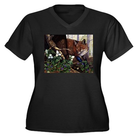 Face to Face Women's Plus Size V-Neck Dark T-Shirt