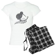 kiwi bird on a silver fern pajamas