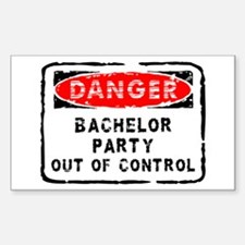 Danger Bachelor Party Rectangle Decal