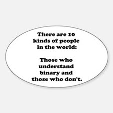 10 Kinds of People<br> Oval Decal