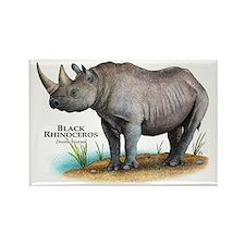 Black Rhinoceros Rectangle Magnet