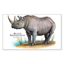 Black Rhinoceros Rectangle Decal