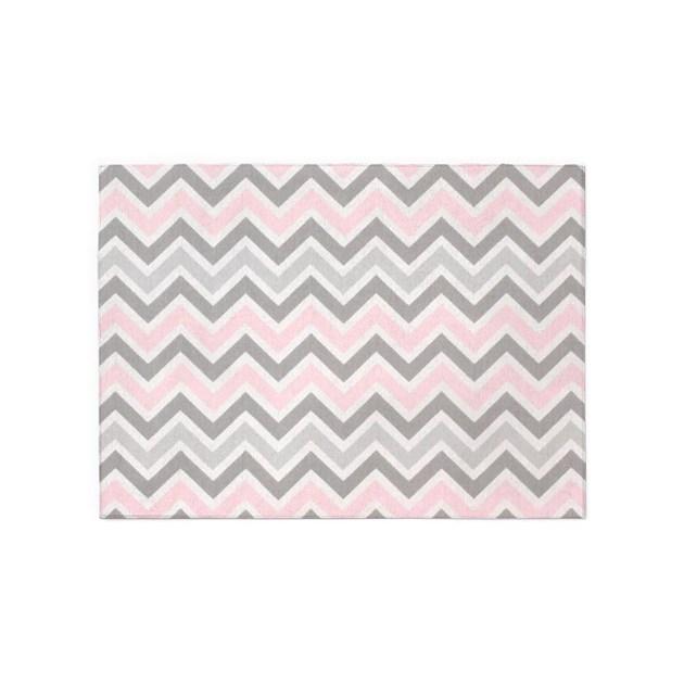 Modern Grey Pink Chevron Pattern 5'x7'Area Rug By ADMIN