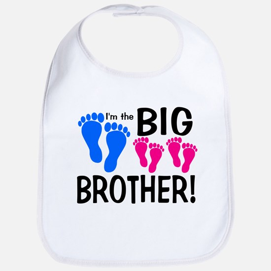 I'm the Big Brother! two pink feet Bib