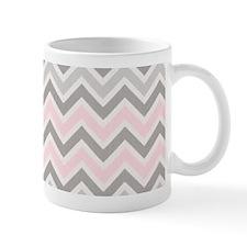 modern grey pink chevron pattern Mugs