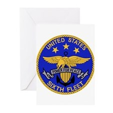SIXTH FLEET US Navy Military PATCH. Greeting Cards
