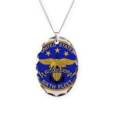 SIXTH FLEET US Navy Military P Necklace Oval Charm