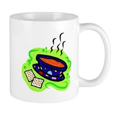 soup bowl & crackers on bold green Mugs