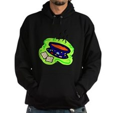 soup bowl & crackers on bold green Hoodie