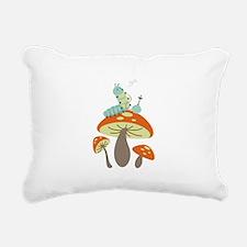 Mushroom Caterpillar Rectangular Canvas Pillow