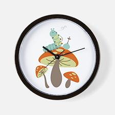 Mushroom Caterpillar Wall Clock