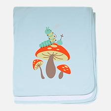 Mushroom Caterpillar baby blanket
