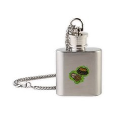 hamburger & fries on bold green Flask Necklace