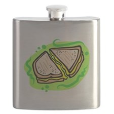 grilled cheese on bold green background Flask