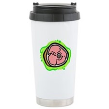 ham on bold green background Travel Mug