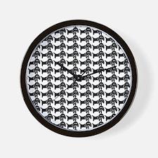 Black and White Dachshund Wiener Dog Pa Wall Clock