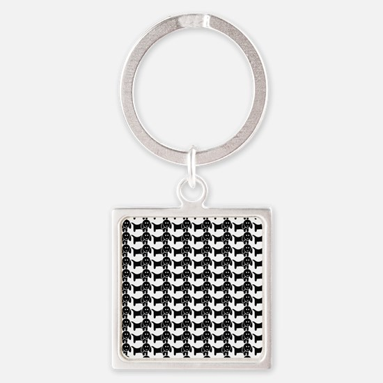 Black and White Dachshund Wiener D Square Keychain
