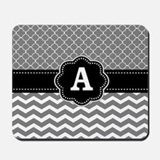 Gray Black Quatrefoil Chevron Monogram Mousepad
